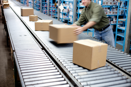 order picking cartons at a distribution center