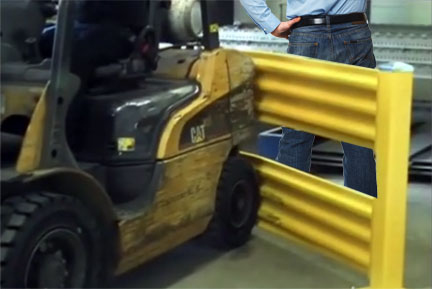 Forklift stopped by guardrail