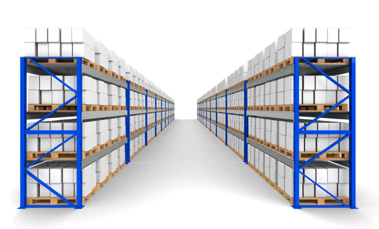 Warehouse racks in a layout