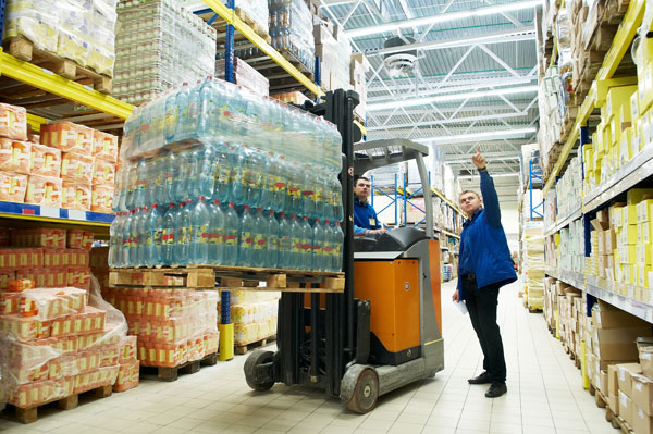 warehouse store loading water bottles