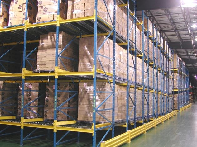 pallet flow rack system in a storage area