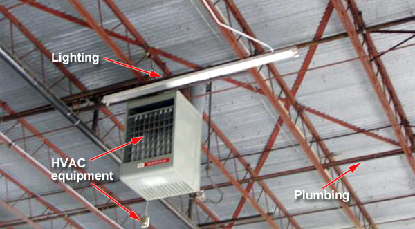 ceiling obstructions in an warehouse