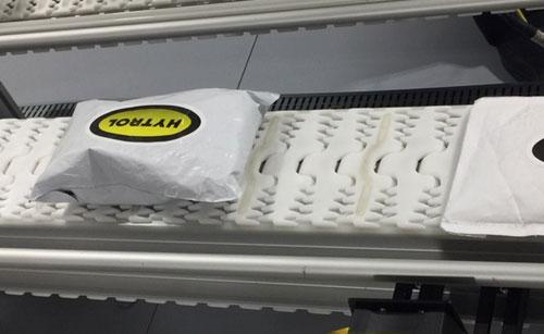 Plastic chain conveyor and poly bag