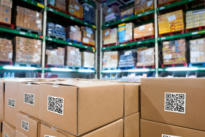 palletized cartons in a distribution center