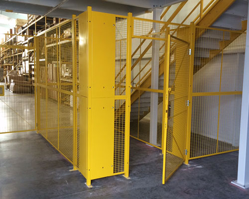 security cage integrated with a warehouse mezzanine