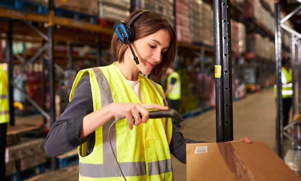 inventory warehouse worker with barcode scanner