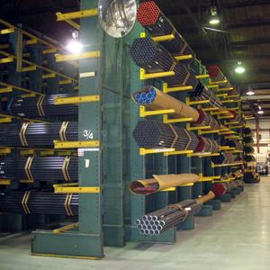 Cantilever racks storing tube stock