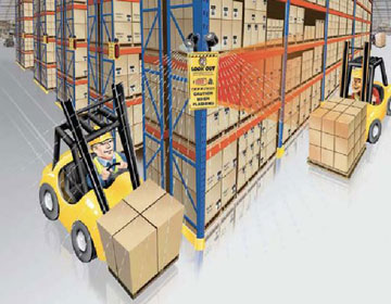 Rack corner warehouse warning sensor
