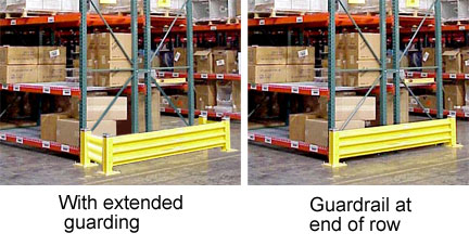 Racks with guard rails at the end of the aisle