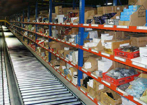 small parts picking line with Unex carton flow racking