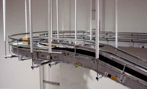 overhead roller conveyor with guardrails