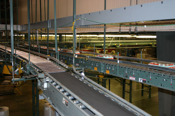 overhead, multi-tier conveyor system