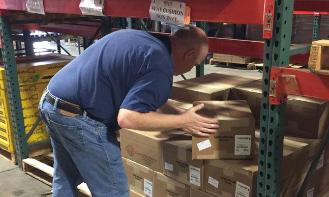 order picker in a rack warehouse