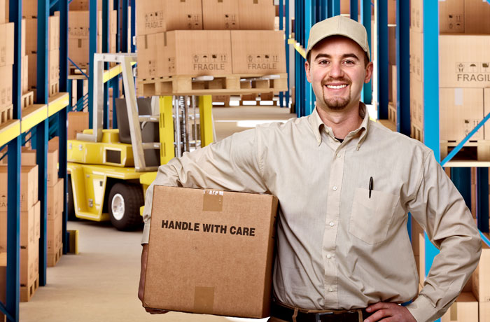 warehouse worker with a box