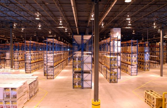 order picker in a rack warehouse