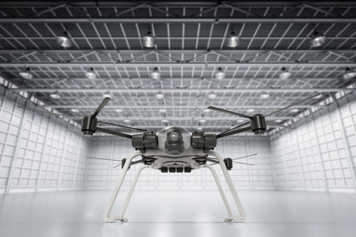 Drone in an empty warehouse