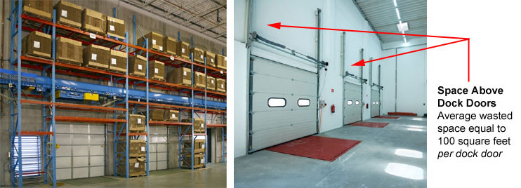 storage above a warehouse dock door area