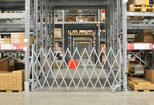 warehouse access gate mounted to racks