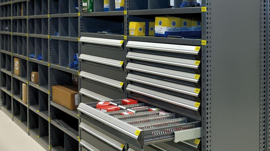 shelving system with modular drawers
