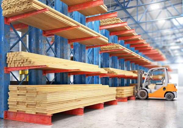 cantilever rack in a lumber storage operation