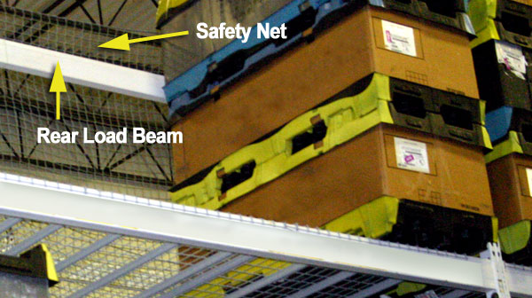 pallet rack with rear load beam and safety net