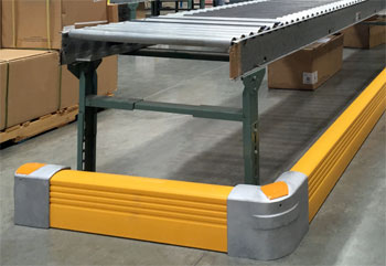 guarding the base of a conveyor with flexible rails