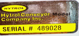 Hytrol Conveyors serial number plate