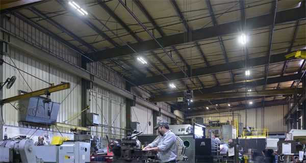 High bay lights in a manufacturing facility