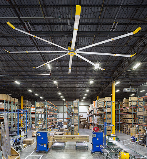 Warehouse fan cooling system - ceiling mounted
