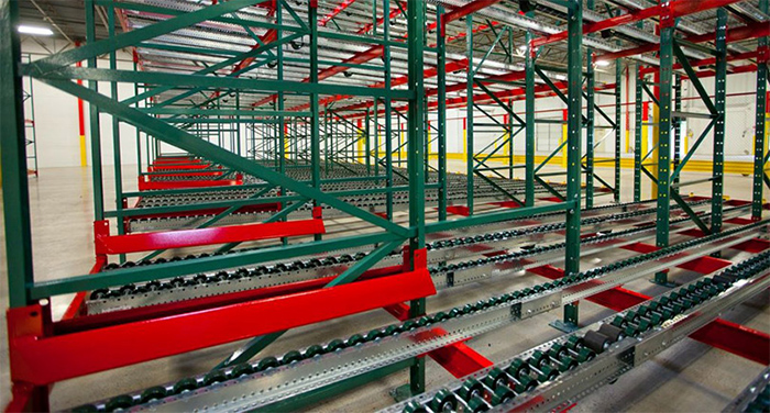 pallet flow system in a distribution center