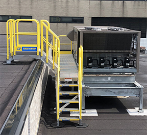 modular HVAC maintenance platform on a rooftop