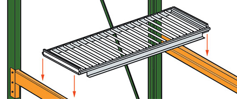flow rack deck system drop onto rack beams