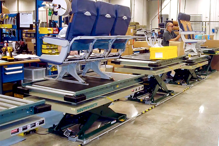 scissor lift tables on an assembly line