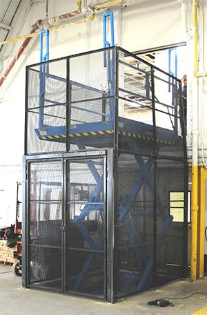 scissor lift reaching to a mezzanine platform with safety surround