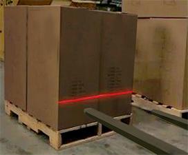 forklift laser tine guide system