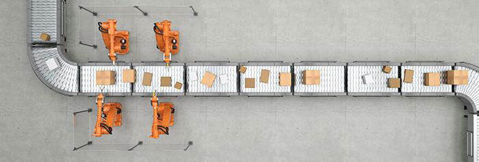 Robotic conveyor picking line on a factory floor