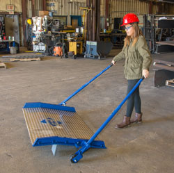 optional wheels for a dockboard allow forklifts to easily load and transport the board.