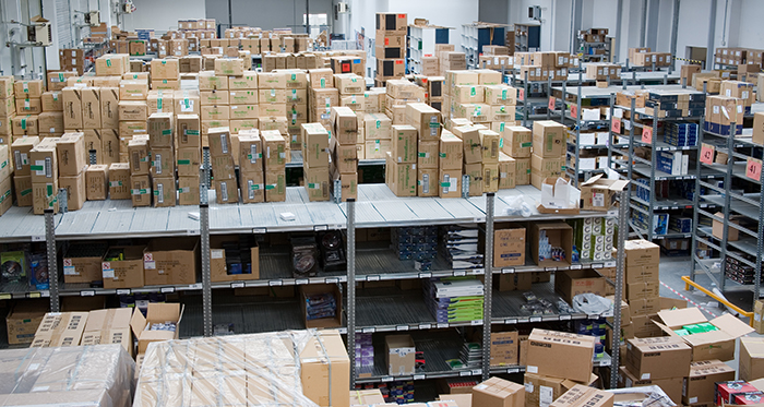 High density warehouse shelving system with carton and each pick storage.