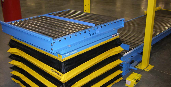 scissor lift for pallet handling in a conveyor line.