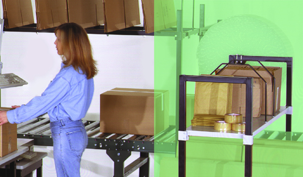 rear area reach zone behind an industrial workbench in a packing operation.
