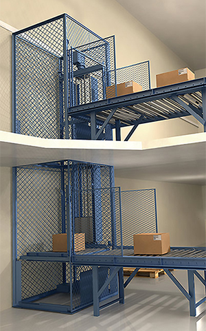 Vertical conveyor loading from a conveyor system to elevate packages to the next level.