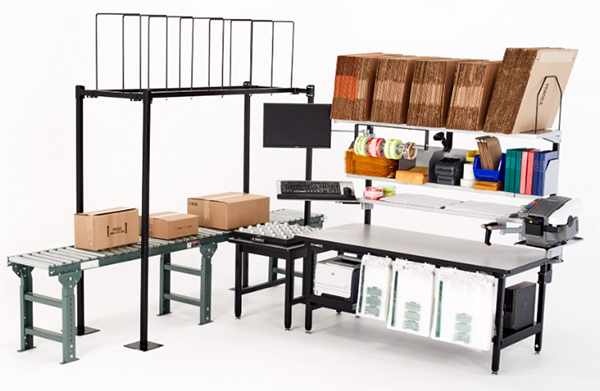 A packing bench system designed to optimize reach, ergonomics and material availability.