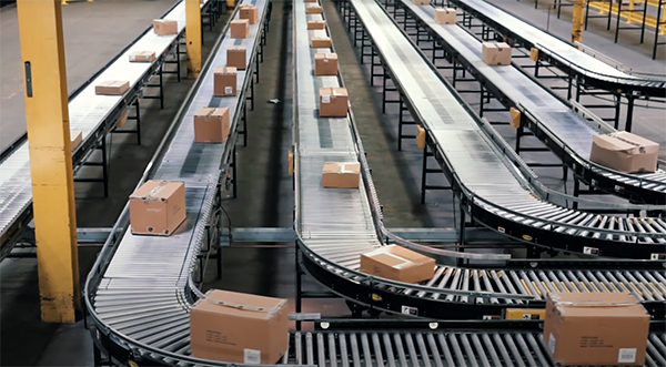 accumulation conveyor system in a warehouse.
