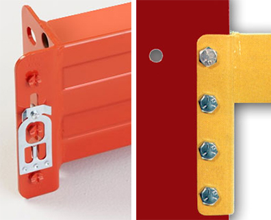 Pallet rack beam connections: rivets and bolts