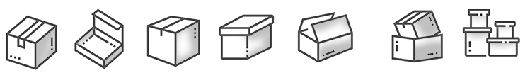 A variety of parcel sizes illustration. Many sizes and shapes must work on a parcel handling system.