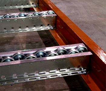 Skatewheel pallet flow rollers mounted in a multi-level, rack-supported pick module.