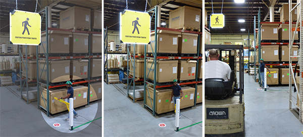 Photo of various forklift safety systems, including 180-degree sensor, rack mounted sensor and gobo triggered projection system.