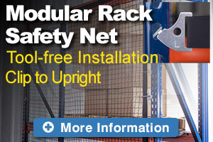 Modular rack safety net clips to rack without using tools